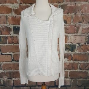 Left on Houston Cream Zip Up Knit Sweater M